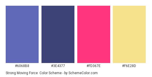 Strong Moving Force - Color scheme palette thumbnail - #6068B8 #3E4377 #FD367E #F6E28D