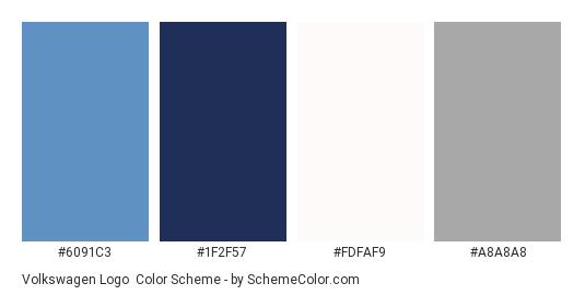 Volkswagen Logo - Color scheme palette thumbnail - #6091c3 #1f2f57 #fdfaf9 #a8a8a8