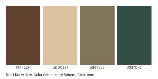 Don't Know How - Color scheme palette thumbnail - #61422F #DDC29F #807559 #334D47