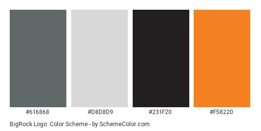 BigRock Logo - Color scheme palette thumbnail - #616868 #D8D8D9 #231F20 #F58220