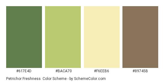 Petrichor Freshness - Color scheme palette thumbnail - #617E4D #BACA70 #F6EEB6 #89745B