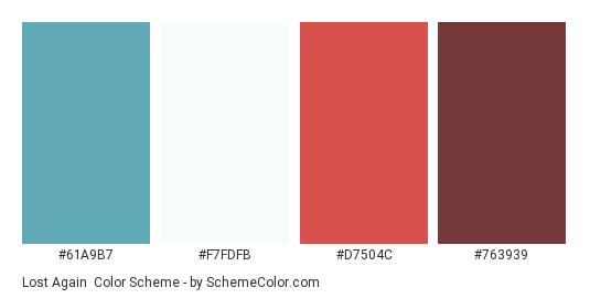 Lost Again - Color scheme palette thumbnail - #61A9B7 #F7FDFB #D7504C #763939