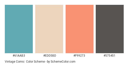 Vintage Comic - Color scheme palette thumbnail - #61AAB3 #EDD5BD #F99273 #575451