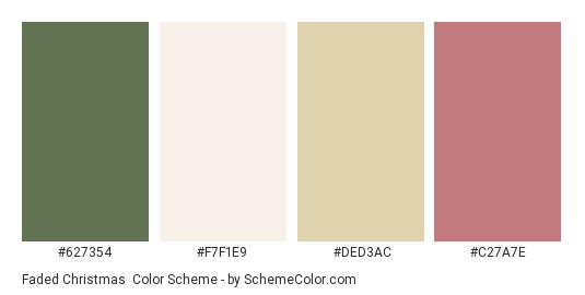 Faded Christmas - Color scheme palette thumbnail - #627354 #f7f1e9 #ded3ac #c27a7e