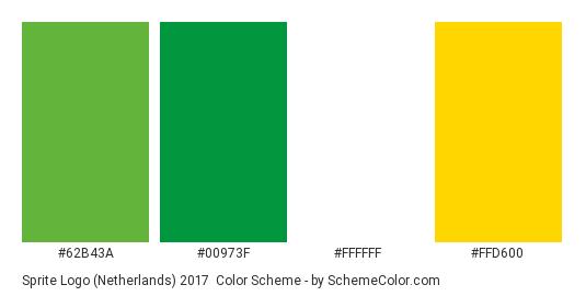 Sprite Logo (Netherlands) 2017 - Color scheme palette thumbnail - #62b43a #00973f #ffffff #ffd600