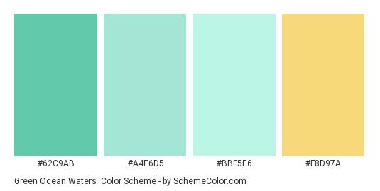Green Ocean Waters - Color scheme palette thumbnail - #62c9ab #a4e6d5 #bbf5e6 #f8d97a