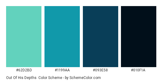 Out of His Depths - Color scheme palette thumbnail - #62d2bd #1199aa #093e58 #010f1a