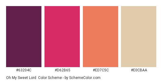 Oh My Sweet Lord - Color scheme palette thumbnail - #63204c #d62b65 #ed7c5c #e0cbaa