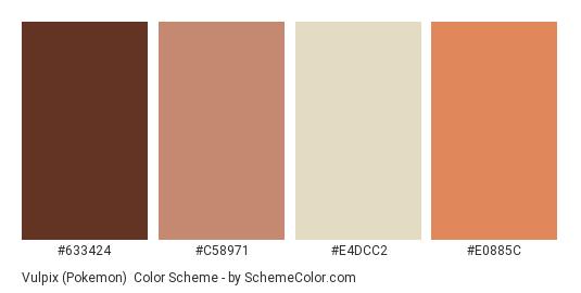 Vulpix (Pokemon) - Color scheme palette thumbnail - #633424 #C58971 #E4DCC2 #E0885C