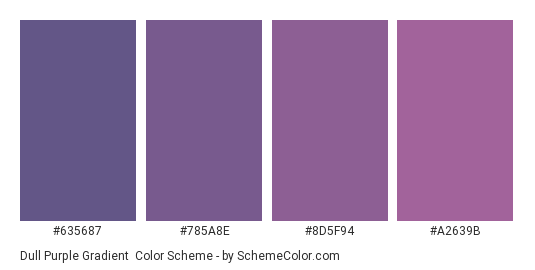 Dull Purple Gradient - Color scheme palette thumbnail - #635687 #785A8E #8D5F94 #A2639B
