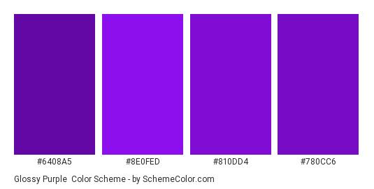 Glossy Purple - Color scheme palette thumbnail - #6408a5 #8e0fed #810dd4 #780cc6