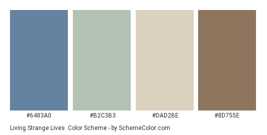 Living Strange Lives - Color scheme palette thumbnail - #6483A0 #B2C3B3 #DAD2BE #8D755E