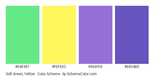 Soft Green, Yellow & Purple - Color scheme palette thumbnail - #64E987 #FEF65C #966FD6 #6854BD