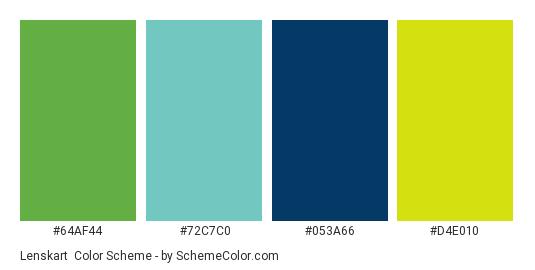Lenskart - Color scheme palette thumbnail - #64af44 #72c7c0 #053a66 #d4e010