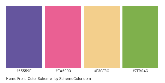 Home Front - Color scheme palette thumbnail - #65559e #ea6093 #f3cf8c #7fb04c