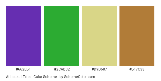 At Least I Tried - Color scheme palette thumbnail - #662eb1 #2cab32 #d9d687 #b17c38