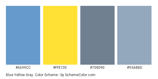 Blue Yellow Gray Color Scheme Palette Thumbnail 6699cc Ffe135 708090