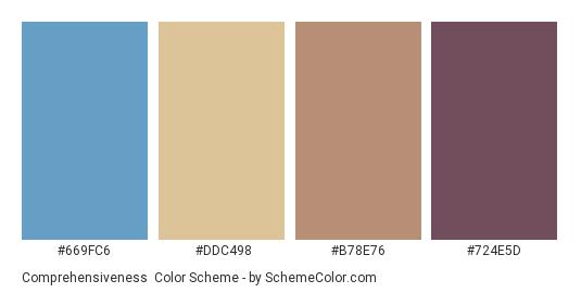 Comprehensiveness - Color scheme palette thumbnail - #669fc6 #ddc498 #b78e76 #724e5d