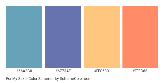 For My Sake - Color scheme palette thumbnail - #66A3B8 #6773AE #FFC680 #FF8B68