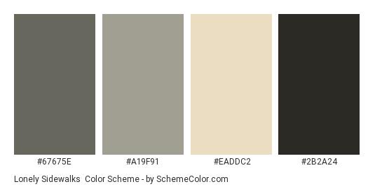 Lonely Sidewalks - Color scheme palette thumbnail - #67675e #a19f91 #eaddc2 #2b2a24