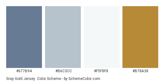 Gray Gold Jersey Color Scheme Palette Thumbnail 677b94 B6c3cc F5f8f8
