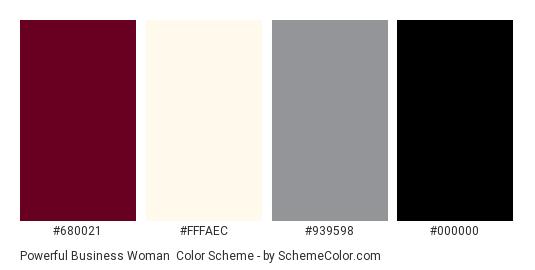 Powerful Business Woman - Color scheme palette thumbnail - #680021 #fffaec #939598 #000000