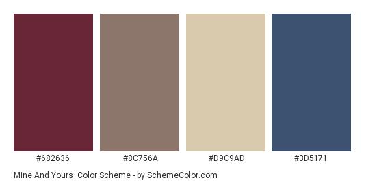Mine and Yours - Color scheme palette thumbnail - #682636 #8C756A #D9C9AD #3D5171
