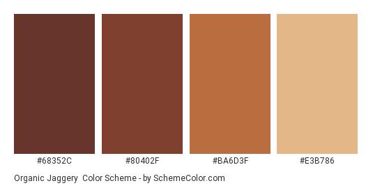 Organic Jaggery - Color scheme palette thumbnail - #68352C #80402F #BA6D3F #E3B786