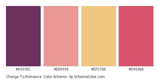 Change to Romance - Color scheme palette thumbnail - #69315c #e89993 #efc780 #d9536b