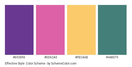 Effective Style - Color scheme palette thumbnail - #693890 #DD62A5 #FBCA6B #448079