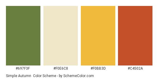 Simple Autumn - Color scheme palette thumbnail - #697f3f #f0e6c8 #f0bb3d #c4502a
