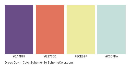 Dress Down - Color scheme palette thumbnail - #6A4D87 #E2735D #ECEB9F #C3DFDA