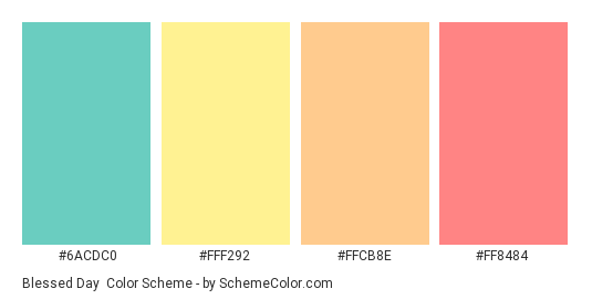 Blessed Day - Color scheme palette thumbnail - #6ACDC0 #FFF292 #FFCB8E #FF8484