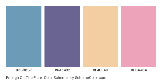 Enough on the Plate - Color scheme palette thumbnail - #6B9BB7 #6A6492 #F4CEA3 #EDA4BA