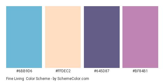Fine Living - Color scheme palette thumbnail - #6BB9D6 #FFDEC2 #645D87 #BF84B1