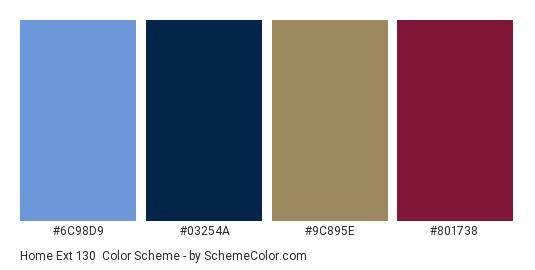 Home Ext 130 - Color scheme palette thumbnail - #6C98D9 #03254A #9C895E #801738
