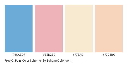 Free of Pain - Color scheme palette thumbnail - #6CABD7 #EEB2B9 #F7EAD1 #F7D5BC