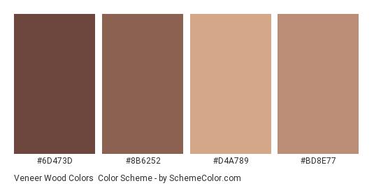 Veneer Wood Colors - Color scheme palette thumbnail - #6D473D #8B6252 #D4A789 #BD8E77