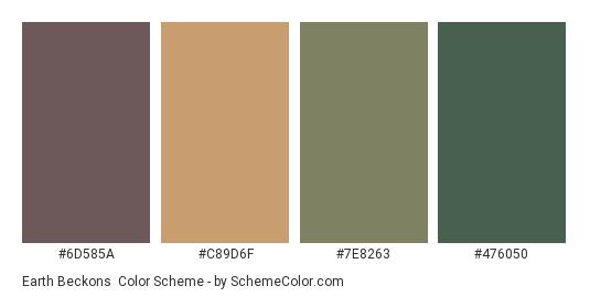 Earth Beckons - Color scheme palette thumbnail - #6D585A #C89D6F #7E8263 #476050