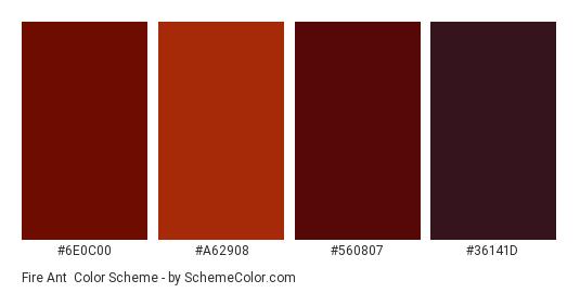 Fire Ant - Color scheme palette thumbnail - #6E0C00 #A62908 #560807 #36141D