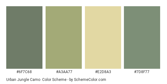 Urban Jungle Camo - Color scheme palette thumbnail - #6F7C68 #A3AA77 #E2D8A3 #7D8F77