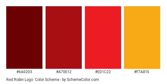 Red Robin Logo - Color scheme palette thumbnail - #6a0203 #a70e12 #ed1c22 #f7a815