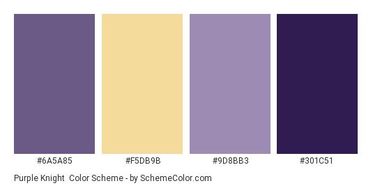 Purple Knight - Color scheme palette thumbnail - #6a5a85 #f5db9b #9d8bb3 #301c51