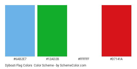 Djibouti Flag Colors - Color scheme palette thumbnail - #6ab2e7 #12ad2b #ffffff #d7141a