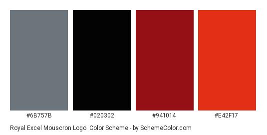 Royal Excel Mouscron Logo - Color scheme palette thumbnail - #6b757b #020302 #941014 #e42f17