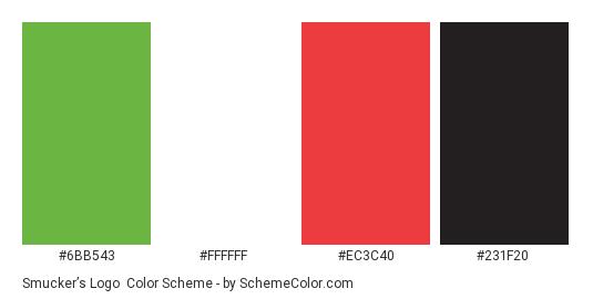 Smucker's Logo - Color scheme palette thumbnail - #6bb543 #ffffff #ec3c40 #231f20