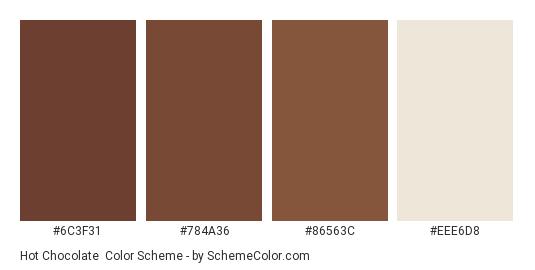Hot Chocolate - Color scheme palette thumbnail - #6c3f31 #784a36 #86563c #eee6d8