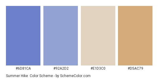 Summer Hike - Color scheme palette thumbnail - #6d81ca #92a2d2 #e1d3c0 #d5ac79