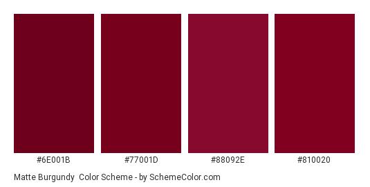 Matte Burgundy - Color scheme palette thumbnail - #6e001b #77001d #88092e #810020
