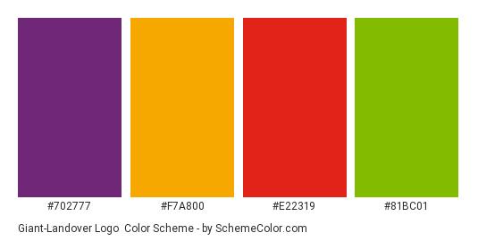 Giant-Landover Logo - Color scheme palette thumbnail - #702777 #f7a800 #e22319 #81bc01
